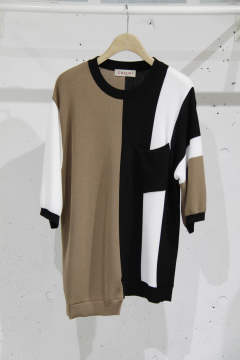 「即日発送可能!!」CULLNI Asymmetric Color Block Cut Sewn WHITE×MARRO アシンメトリーカットソー