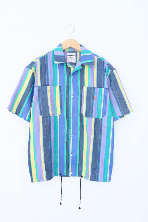 「即日発送可能!!」wakami OPEN COLLER S/S SHIRTS Stripe PURPLE
