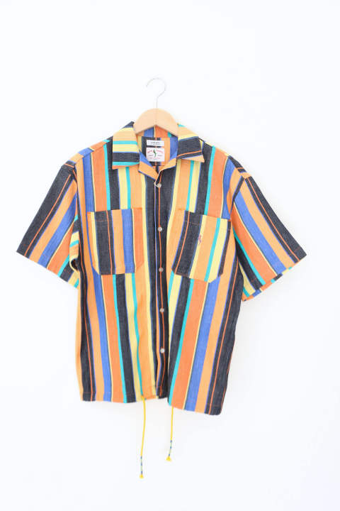 「即日発送可能!!」wakami OPEN COLLER S/S SHIRTS Stripe MULTI