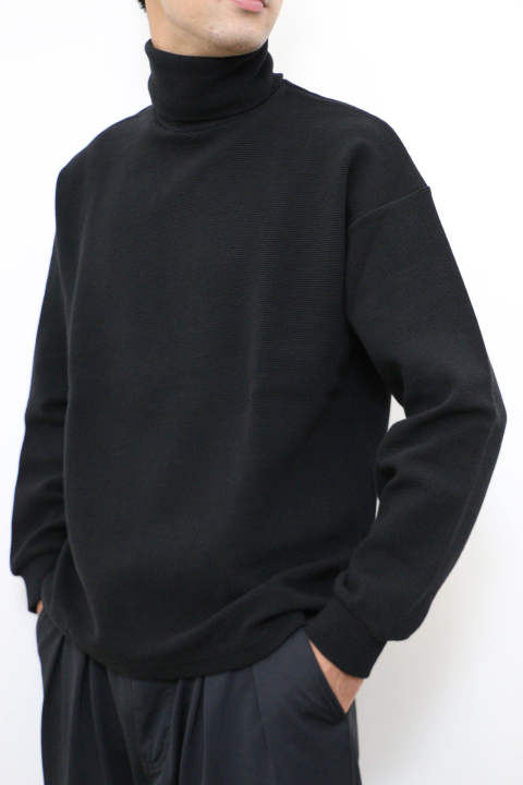 「ラスト1点!!」「即日発送可能!!」KIIT STRECH RIPPLE TURTLE NECK TEE BLACK