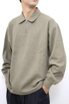 「即日発送可能!!」tone DOUBLE FACE SHIRT  (HALF ZIP POLO) Olive