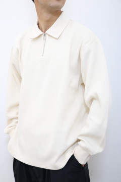 「即日発送可能!!」tone DOUBLE FACE SHIRT  (HALF ZIP POLO)Natural