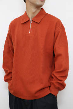 「即日発送可能!!」tone DOUBLE FACE SHIRT  (HALF ZIP POLO) Deep Orange