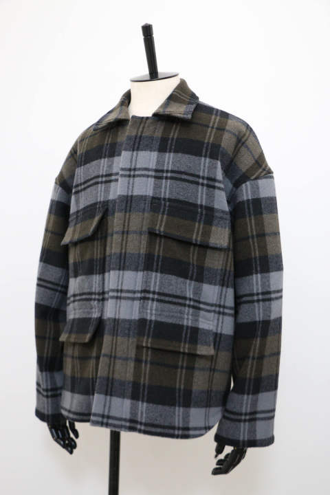 「ラスト1点!!」「即日発送可能!!」KIIT BALOON WOOL CHECK ZIP UP BLOUSON KHAKI CHECK