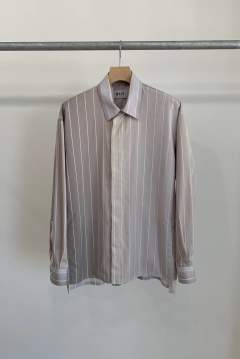 「先行予約品 ポイント10%還元!!」KIIT Striped Gradient Shirt GRAY BEIGE
