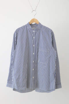 「ラスト1点!!」「即日発送可能!!」UNIVERSAL PRODUCTS STRIPE T.M. BAND COLLAR L/S SHIRT NAVY STRIPE
