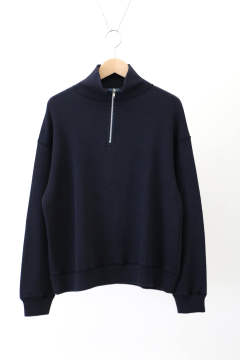 「ラスト1点!!」「即日発送可能!!」bunt REVERSE SWEAT HALF ZIP SHIRTS NAVY