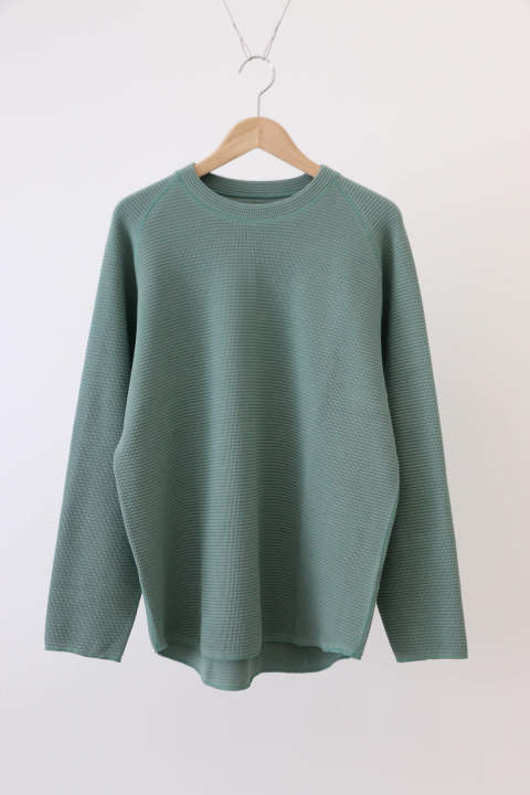 「ラスト1点!!」「即日発送可能!!」KIIT Cotton Strech Waffule L/Sleeve Tee GREEN