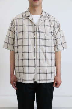「即日発送可能!!」ULTERIOR LAYERED POCKET S/S CHECK SHIRT OFF