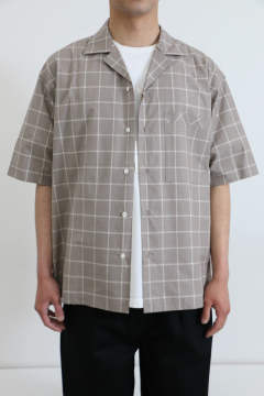 「即日発送可能!!」ULTERIOR LAYERED POCKET S/S CHECK SHIRT MOCHA BROWN